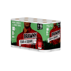 8 Double Rolls Of Brawny Tear-A-Square Paper Towels