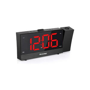 Projection Alarm Clock Radio With Dimmer And Snooze Time Option