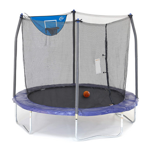 Skywalker Trampolines 8-Foot Jump N' Dunk Trampoline with Enclosure Net
