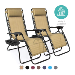 Set of 2 Adjustable Zero Gravity Lounge Chair Recliners (3 Colors)