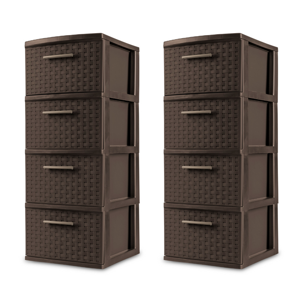 Set Of 2 Sterilite 4 Drawer Weave Towers
