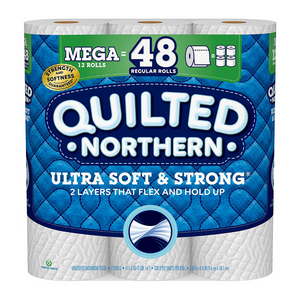 12 Mega Rolls Of Quilted Northern Ultra Soft and Strong Toilet Paper