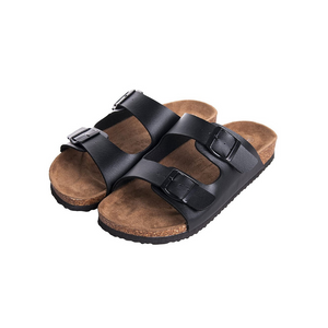 WTW Men's Arizona 2-Strap PU Leather Sandals with Cork Footbed
