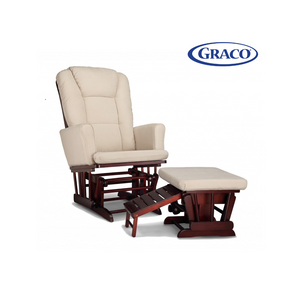 Graco Sterling Rocking Glider Nursery Chair with Ottoman (Cherry)