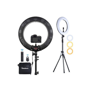 Inkeltech Ring Light - 18 inch 2700K-5600K Dimmable Bi-Color Light Ring, 60W LED Ring Light with Stand