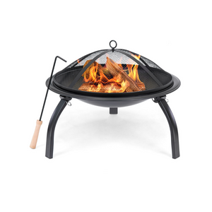 "22"" Folding Steel Fire Pit With Mesh Cover"