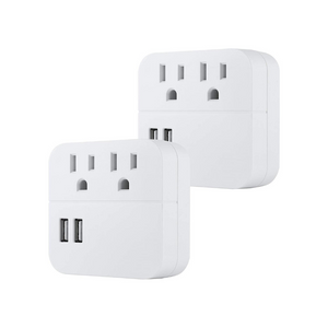 2-Pack GE Outlet 2 USB Surge Protector Tap, Charging Station