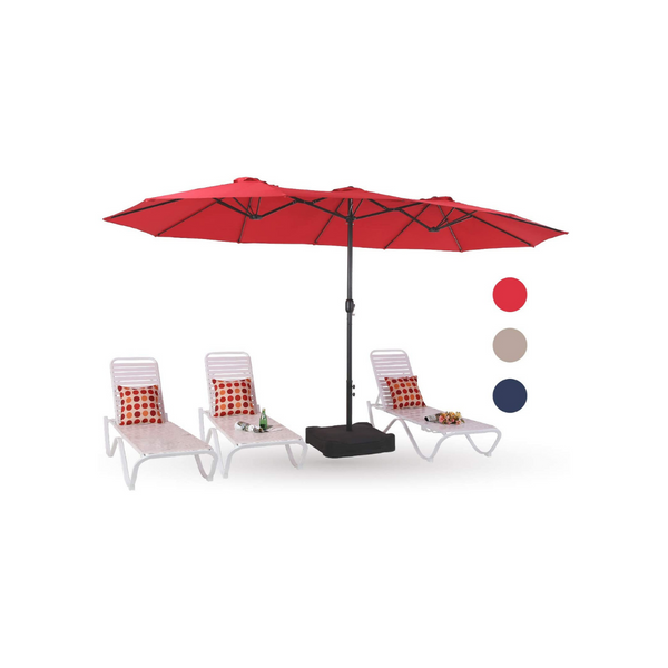 15ft Outdoor Patio Table Umbrella with Stand (3 Colors)