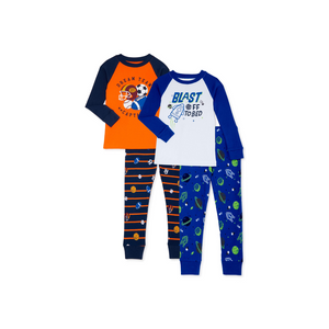 2 Pairs Of Wonder Nation Boys' & Girls' Cotton Long Sleeve Pajamas (3 Styles)