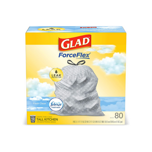 80 Glad ForceFlex Tall Kitchen 13 Gallon Drawstring Trash Bags