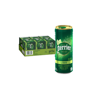 30 Cans Of Perrier Lime Flavored Carbonated Mineral Water