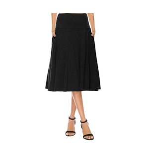 Women's Pocket Basic Solid Stretch Fold-Over Flare Midi Skirt (10 Colors)