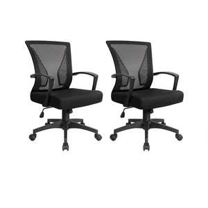 2 Mid Back Swivel Lumbar Support Office Chairs