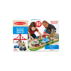 Melissa & Doug Classic Railway Wooden Train Set, 82 Pieces