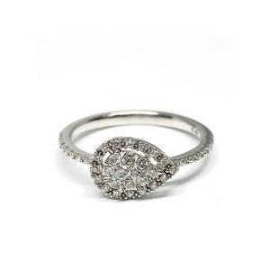 Gorgeous Pear Shape Diamond Cluster Ring In Solid White Gold