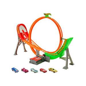 Hot Wheels Power Shift Raceway Track & 5-Race Vehicles Set