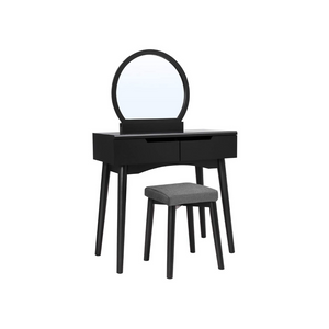 Makeup Dressing Table with Round Mirror