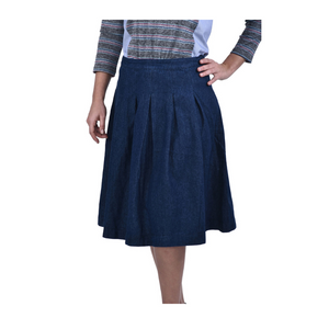 Denim Pleat Skirt