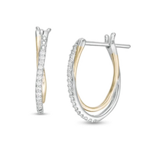 Beautiful TwoTone Crossover Diamond Earring In White/Yellow Gold