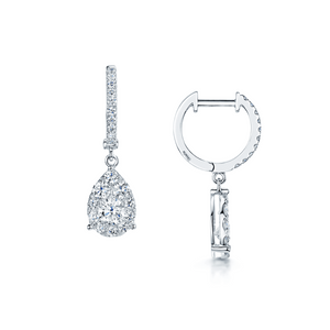 Gorgeous 10K White Gold .25ctw Pear Shaped Diamond Drop Earrings