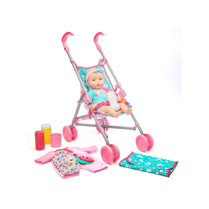Kid Connection Baby Doll Stroller Set With 10 Accessories