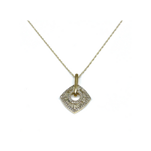 1/2 CT. T.W. Baguette Diamond Pendant in yellow gold