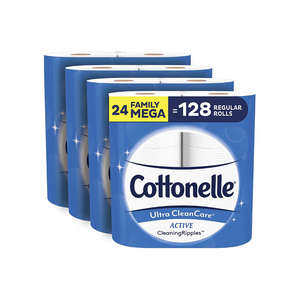 24 Mega (128 Regular) Rolls Of Cottonelle Ultra CleanCare Soft Toilet Paper