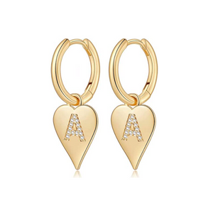 14K Gold Plated Heart Initial Earrings (All ABC's)
