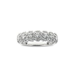 Beautiful 1/2 CT. T.W. Cluster Diamond Seven Stone Band in White Gold