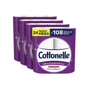 24 Mega (128 Regular) Rolls Of Cottonelle Ultra ComfortCare Soft Toilet Paper