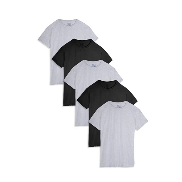 5 Fruit of the Loom Men's Stay Tucked Crew T-Shirts