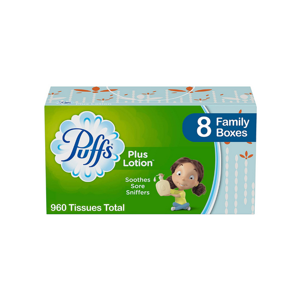 8 Family Boxes Of Puffs Plus Lotion Facial Tissues