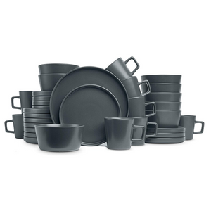 Stone Lain Coupe Gray Matte Dinnerware Set Service For 8
