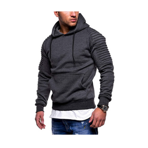Men's Slim Fit Pleated Raglan Sleeve Stripe Hoodies