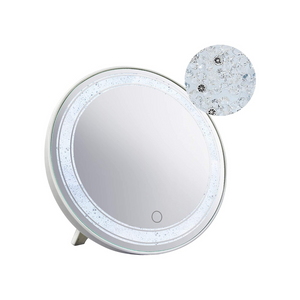 12 Inch Round Makeup Mirror with Lights and Glitter Decor