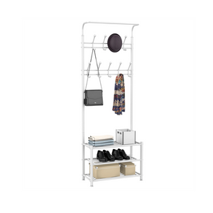 Multipurpose Entryway Hall Tree with 3-Tier Shoe Rack