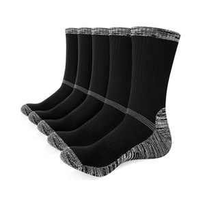 5 Pairs Of Men's Cushion Crew Socks (2 Styles)