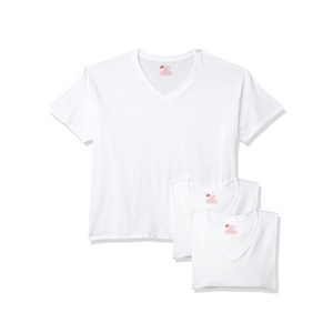 3 Hanes Men's Tagless Stretch White V-Neck Undershirts