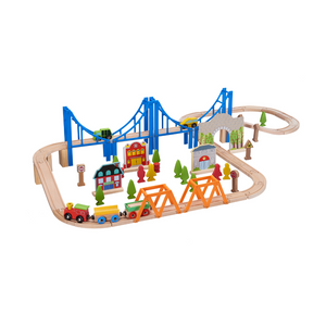 75 Piece Wooden Train Play Set