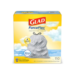110 Glad ForceFlex 13 Gallon Tall Kitchen Drawstring Trash Bags