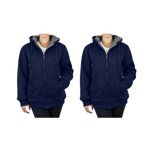 Set Of 2 Women's Loose Fit Sherpa Hoodies
