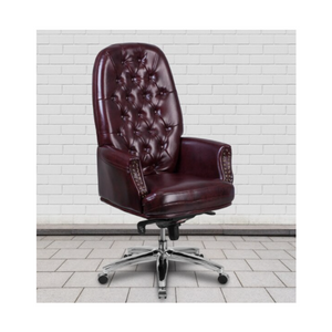 High Back Traditional Tufted Burgundy LeatherSoft Multifunction Executive Chair