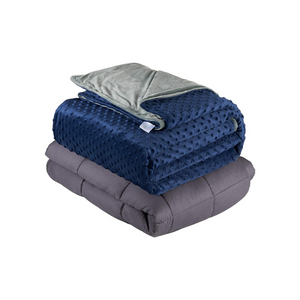 Quility Weighted Blanket for Adults - Queen Size,  20 lbs  - Grey, Navy Cover