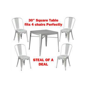 Tolix Dining Table with 4 dining Chairs Set