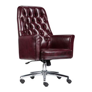 Traditional Tufted Burgundy LeatherSoft Executive Swivel Office Chair