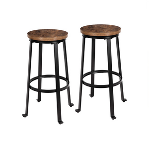 Set of 2 Rustic Brown Bar Stools