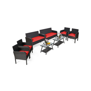 8 Piece Outdoor Patio Conversation Set With Cushions