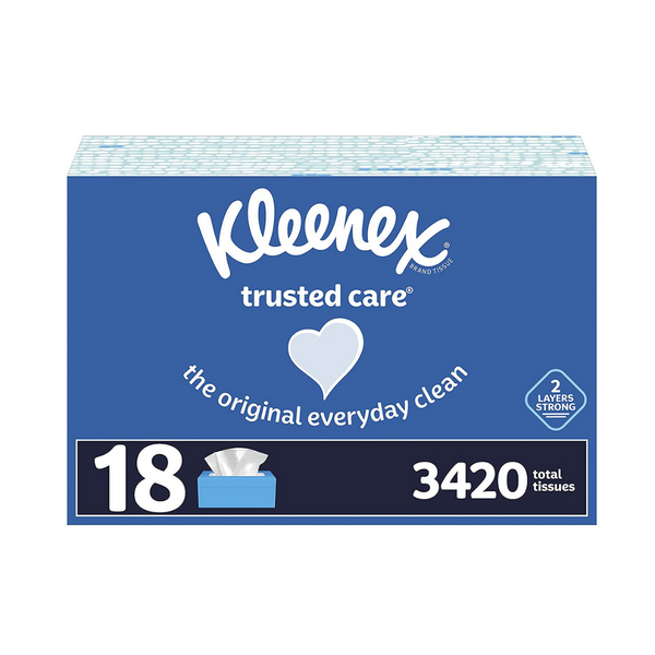 18 Boxes Of Kleenex Trusted Care Facial Tissues