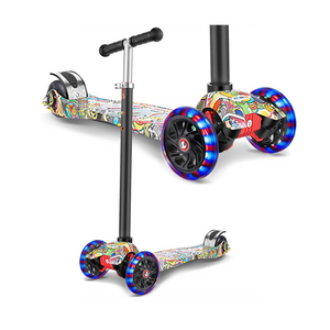 Kid's 3 Wheel Kick Scooter with LED Light Up Wheels