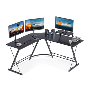 "Coleshome 51"" L-Shaped Corner Computer Desk with Shelf"